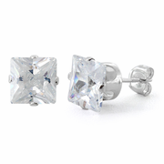 Sterling Silver 7mm Princess Cut CZ Stud Earrings Square