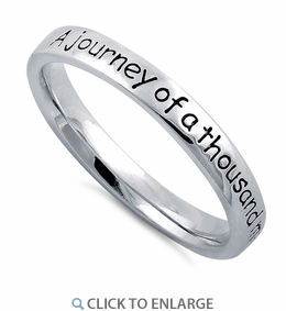 "Sterling Silver ""A Journey Of  A Thousand Miles Begins With A Single Step"" Ring"