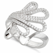 Sterling Silver Abstract Flower Pave CZ Ring
