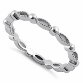 Sterling Silver Alternating Pattern Eternity Band