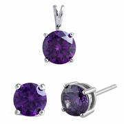 Sterling Silver Ametyst CZ Set