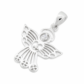 Sterling Silver Angel Cross CZ Pendant