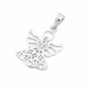 Sterling Silver Angel hearts CZ Pendant