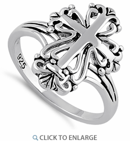 Sterling Silver Antique Cross Ring