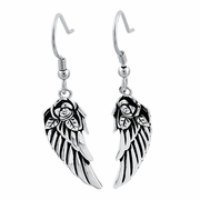 Sterling Silver Antique Flower Wings Earrings