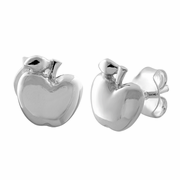 Sterling Silver Apple Earrings