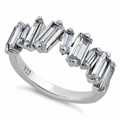 Sterling Silver Asymmetrical Baguette Straight Clear CZ Ring