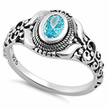Sterling Silver Austere Oval Cut Aqua Blue CZ Ring