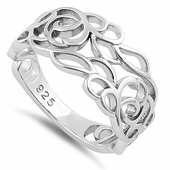 Sterling Silver Autumn Leaves in the Wind Ring