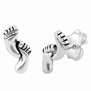 Sterling Silver Baby Feet Stud Earrings