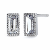 Sterling Silver Baguette Straight Clear CZ Earrings