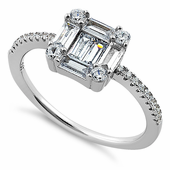 Sterling Silver Baguette Straight & Round Clear CZ Ring