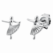 Sterling Silver Ballet Dance Stud Earrings