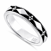 Sterling Silver Bead & Diamond Eternity Band