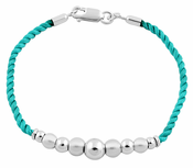 Sterling Silver Beads Turquoise Silk Rope Bracelet