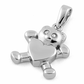 Sterling Silver Bear Heart Pendant