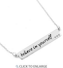 """Sterling Silver """"Believe in yourself"""" CZ Necklace"""