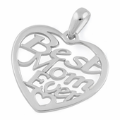"Sterling Silver ""Best Mom Ever"" Pendant"