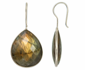 Sterling Silver Bezelled Earrings Labradorite Pear 24 x 20mm