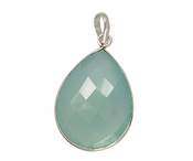 Sterling Silver Bezelled Pendant Sea Green Chalcedony Pear 30 x 22mm