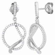 Sterling Silver Big Knot CZ Dangle Earrings