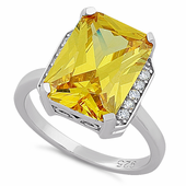 Sterling Silver Big Yellow Rectangle CZ Ring