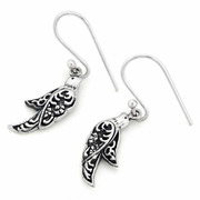 Sterling Silver Bird Oxidized Hook Earrings