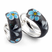 Sterling Silver Black Blue Flower Enamel Hoop Earrings