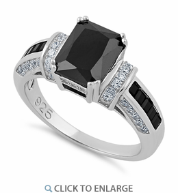 Sterling Silver Emerald Cut Black CZ Ring