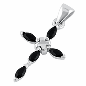 Sterling Silver Black Marquise Stone Cross CZ Pendant