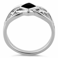Sterling Silver Synthetic Black Onyx Celtic Ring