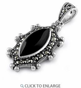 Sterling Silver Black Onyx Oval Marcasite Pendant