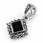 Sterling Silver Black Onyx Square Marcasite Pendant