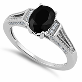 Sterling Silver Black Oval Cut CZ Ring