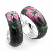 Sterling Silver Black Pink Flower Enamel Hoop Earrings