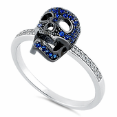 Sterling Silver Black Rhodium Two Tone Blue Spinel CZ Skull Ring