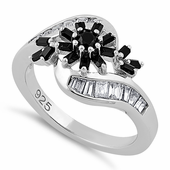 Sterling Silver Blooming Flower Black CZ Ring
