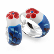 Sterling Silver Blue Red Flower Enamel Hoop Earrings