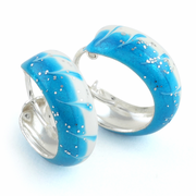 Sterling Silver Blue Enamel Hoop Earrings