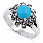 Sterling Silver Synthetic Turquoise Flower Marcasite Ring