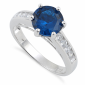 Sterling Silver Blue Round Cut CZ Ring