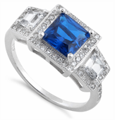 Sterling Silver Blue Sapphire CZ Square Halo Ring