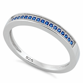 Sterling Silver Blue Saphire Lined CZ Ring