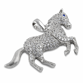 Sterling Silver Blue Sapphire Eyed Horse CZ Pendant