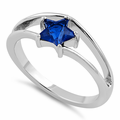 Sterling Silver Blue Sapphire Star Cut CZ Ring