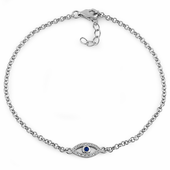 Sterling Silver Evil Eye Blue Spinel & Clear CZ Bracelet