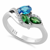 Sterling Silver Blue Topaz Oval Emerald Marquise CZ Ring