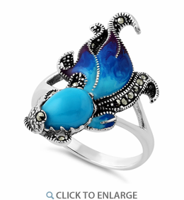 Sterling Silver Simulated Turquoise Ghost Fish Marcasite Ring