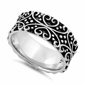 Sterling Silver Bold Curly Heart Eternity Ring