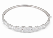 Sterling Silver Bone Pave CZ Bangle Bracelet